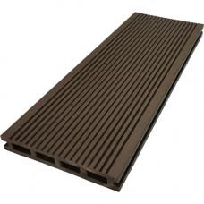 Террасная доска ДПК М-пласт 146х23 мм двусторонняя Шоколад