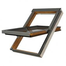 Мансардное окно Fakro PTP-V/GO U3 из ПВХ золотой дуб 55х78 см